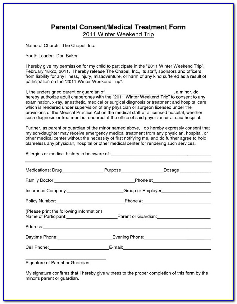 Free Printable Child Medical Consent Form Notarized