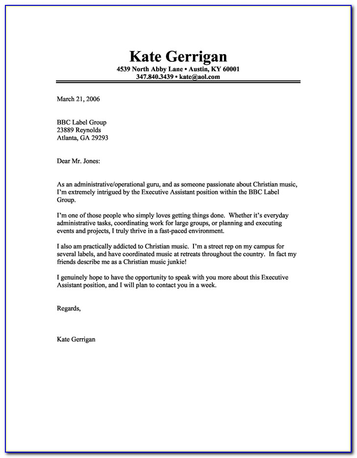 Free Printable Cover Letter Examples