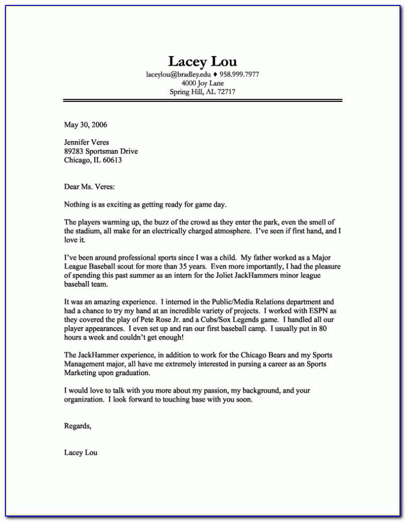 Free Printable Cover Letter Format