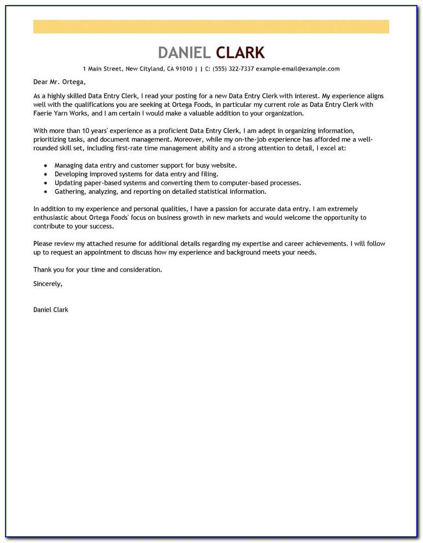 Free Printable Cover Letter Template