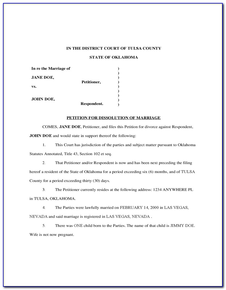 Free Printable Divorce Forms For Oklahoma