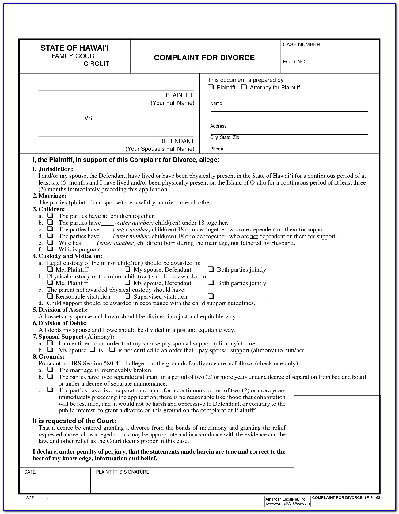 Free Printable Divorce Forms Texas