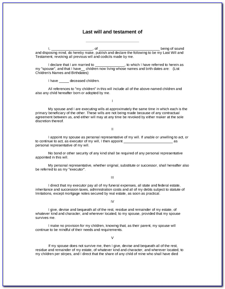 Free Printable Last Will And Testament Blank Forms Texas