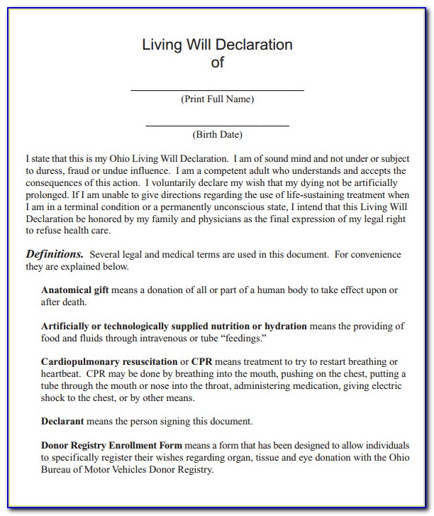 Free Printable Living Will Forms Canada