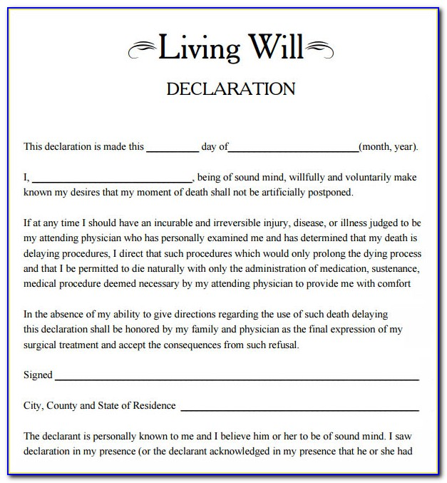 Free Printable Living Will Forms Washington State