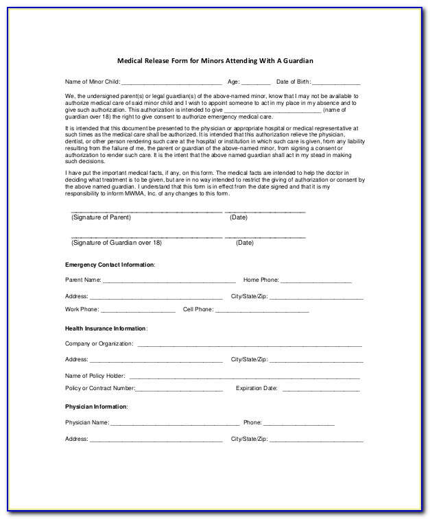 Free Printable Medical Consent Form For Grandparents