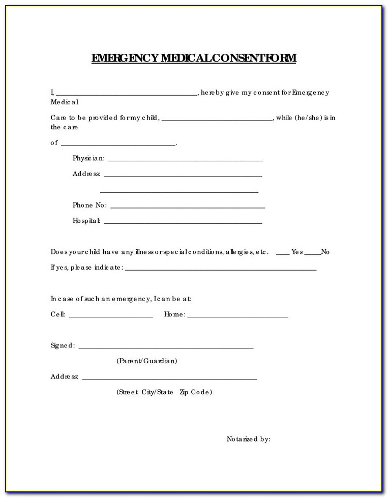 Free Printable Medical Release Form For Child
