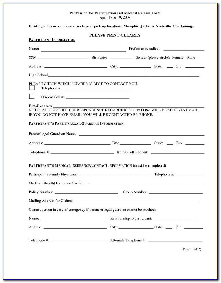 Free Printable Medical Release Form For Grandparents
