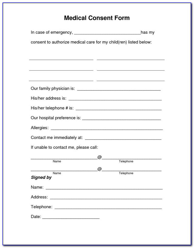 Free Printable Medical Release Form For Minor