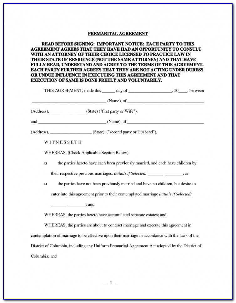 Free Printable Prenuptial Agreement Form South Africa