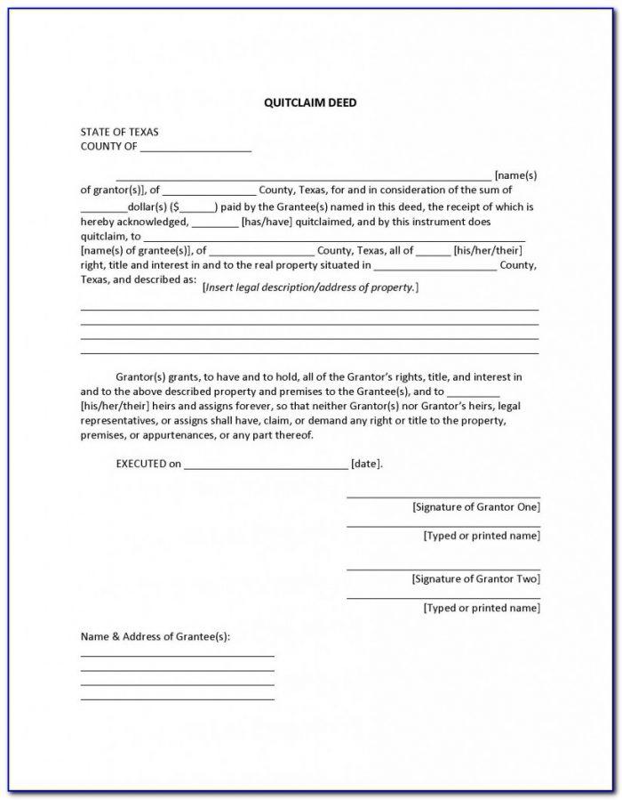 Free Printable Quit Claim Deed Form Texas