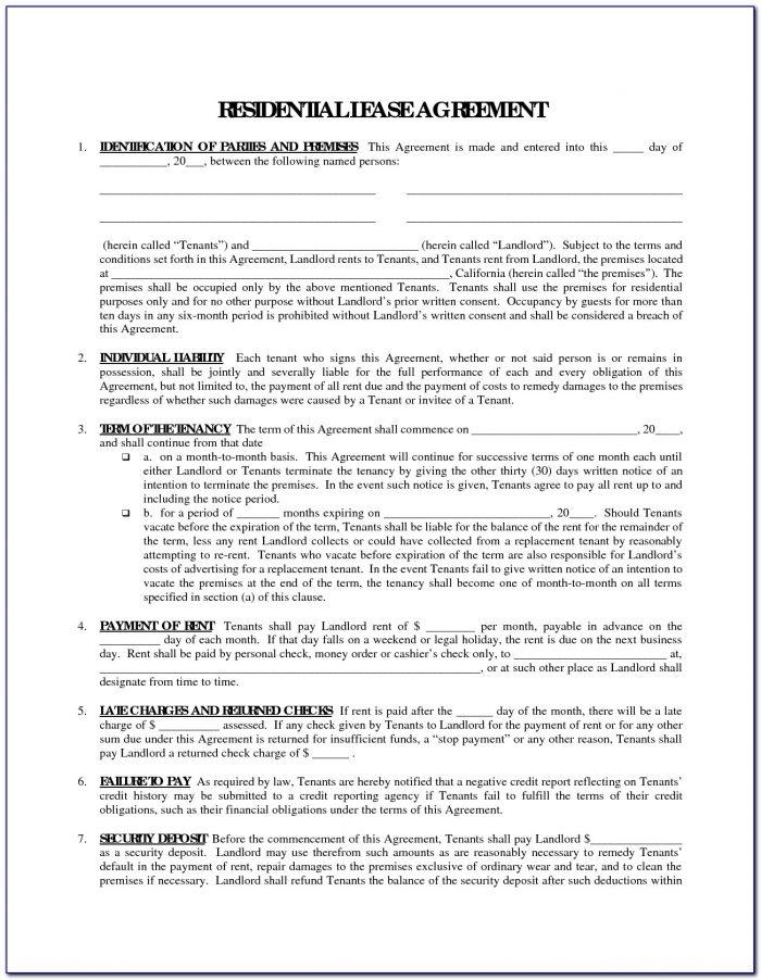 Free Printable Rental Agreement Form Word