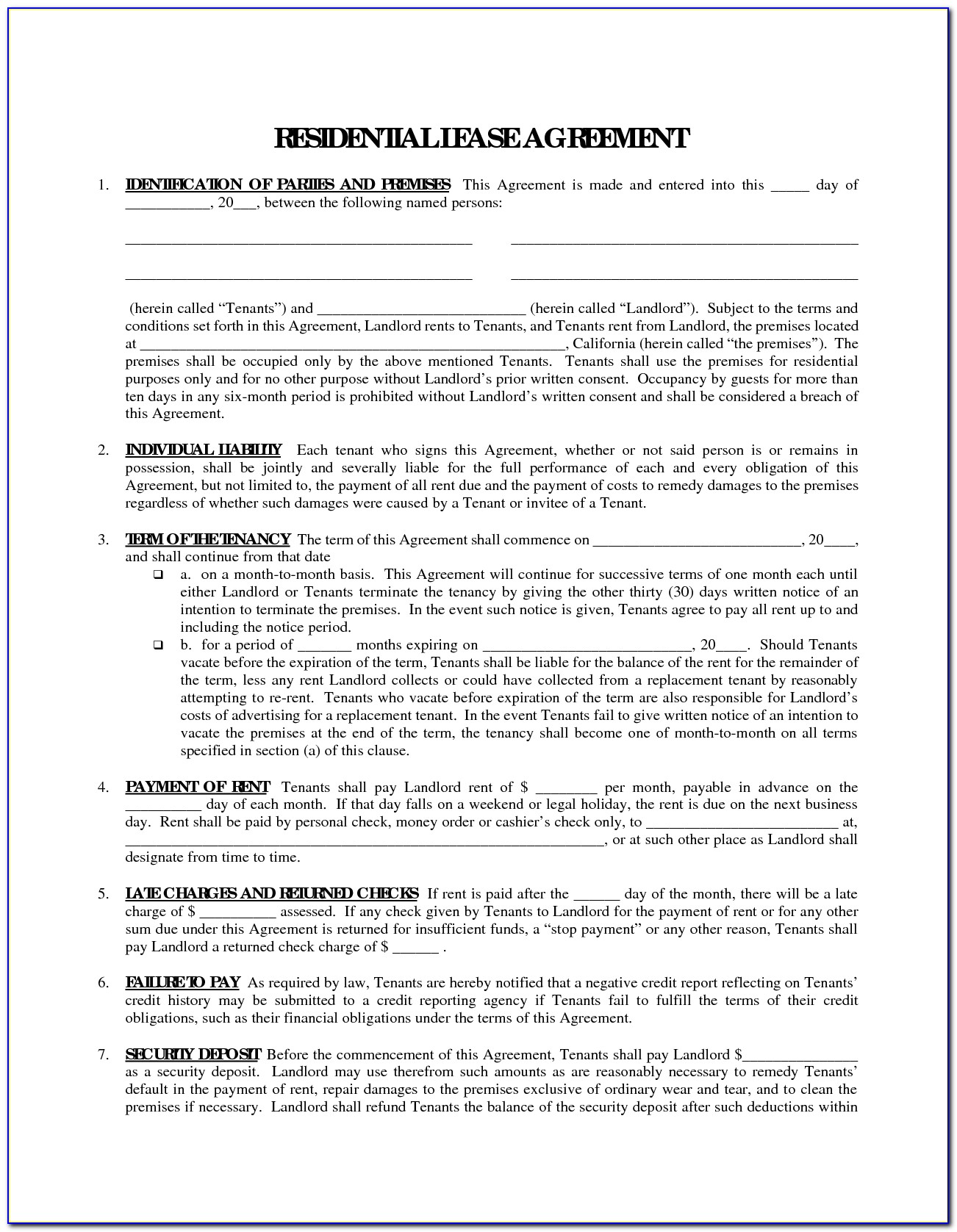 Free Printable Rental Agreement Forms In Spanish Form