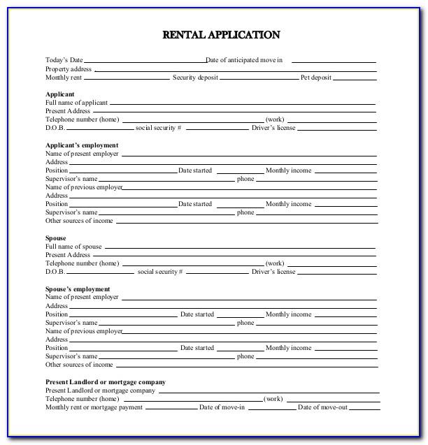 Free Printable Rental Application Template