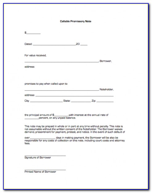 Free Promissory Note Format
