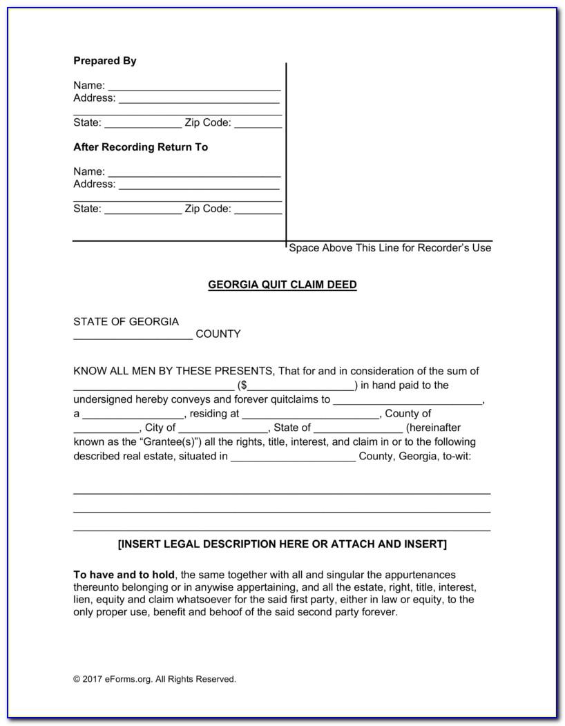 Free Georgia Quit Claim Deed Form Pdf | Word | Eforms – Free Pertaining To Free Printable Quit Claim Deed Form
