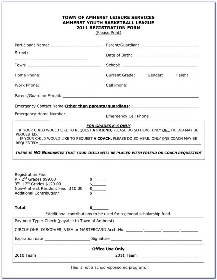Printable Registration Form Template Sports Nancy Release Imagine Regarding Registration Form Template For Sports