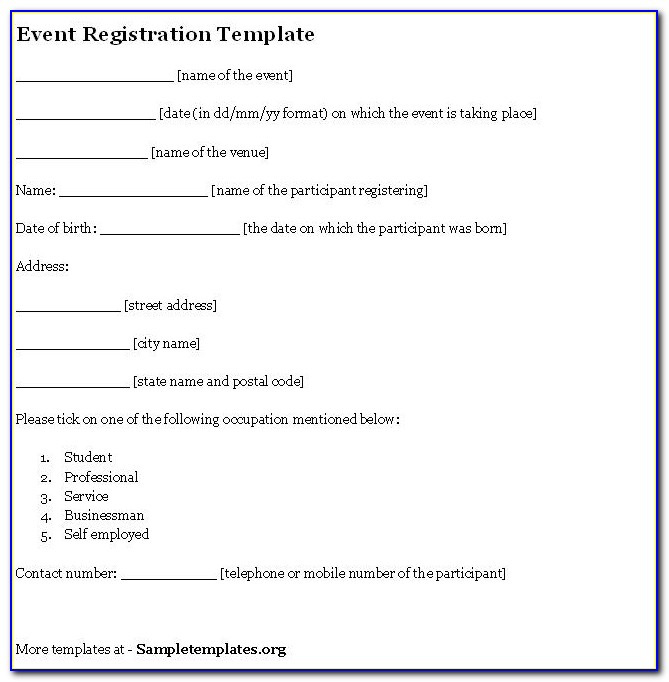 Free Registration Form Template Printable