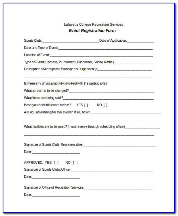 Free Registration Form Template Word