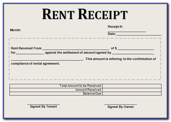 Free Rent Receipt Form Download