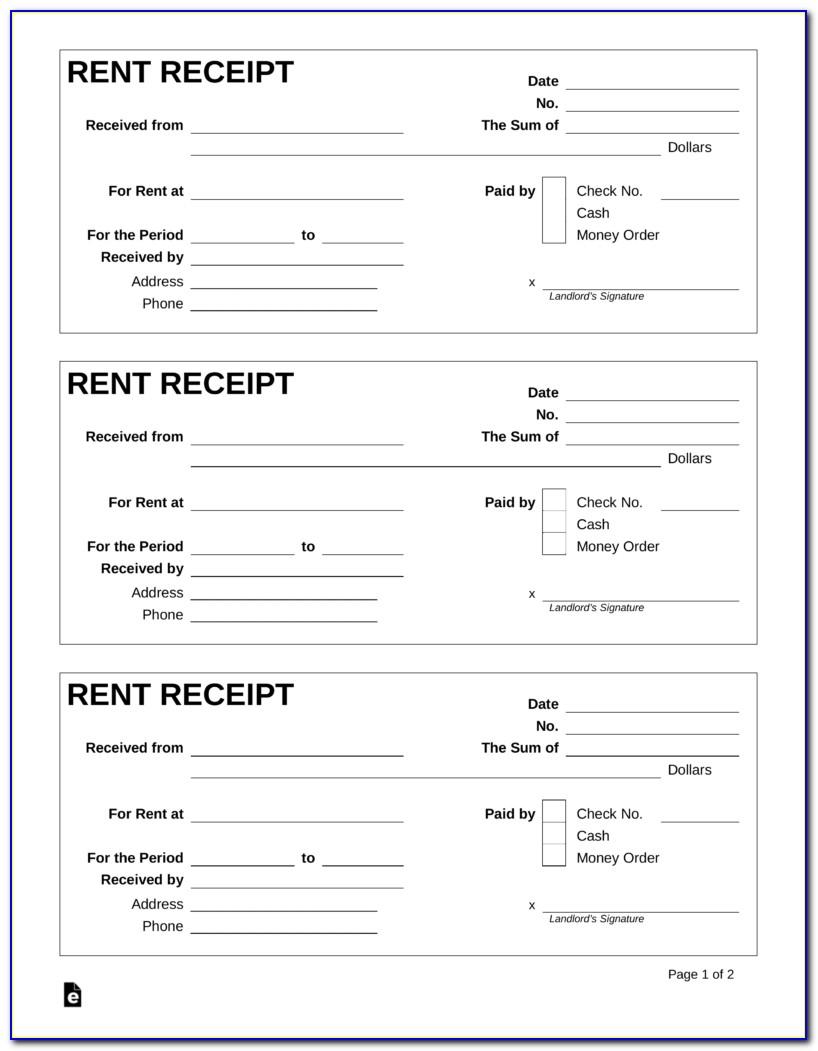 Free Rent Receipt Form