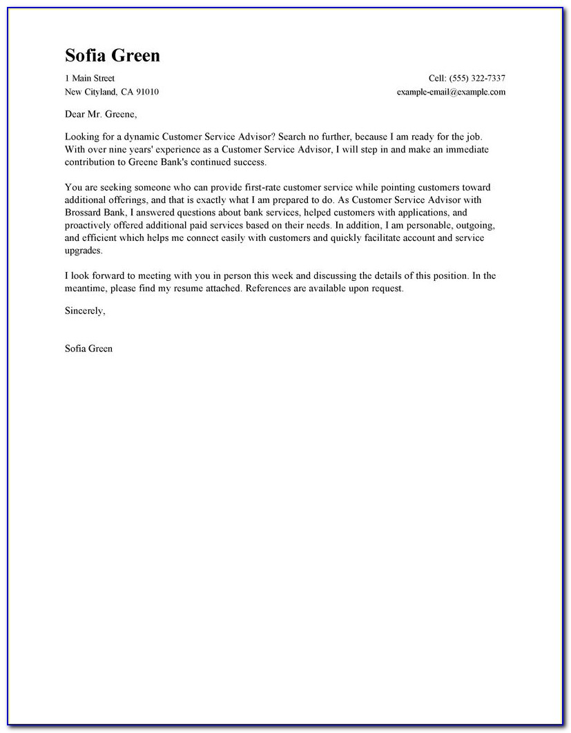 Free Sample Cover Letter For Customer Service Representative