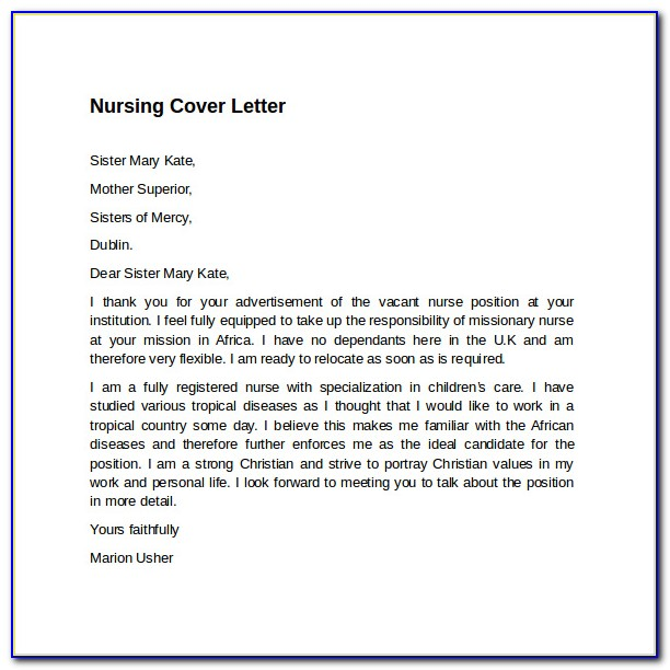 Free Sample Cover Letter For Nursing Assistant