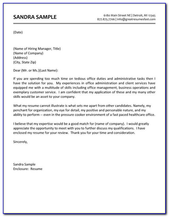 Free Sample Resume Cover Letter Administrative Assistant