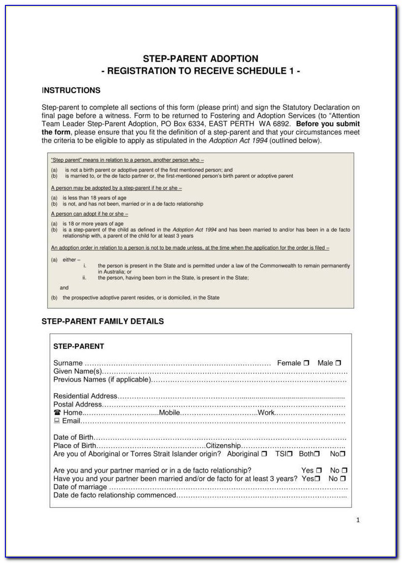 Free Step Parent Adoption Forms Pa