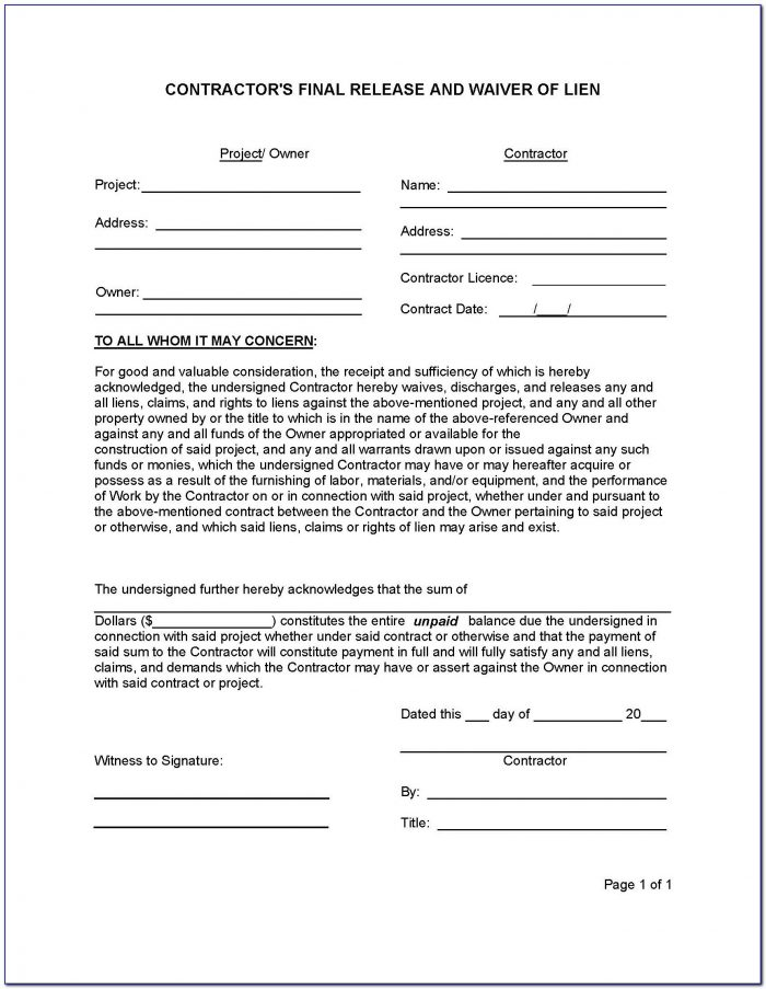 Free Subcontractor Lien Release Form