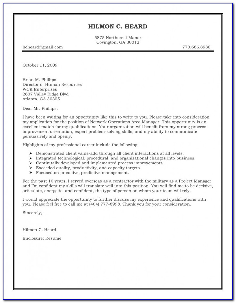 Free Templates For Cover Letter