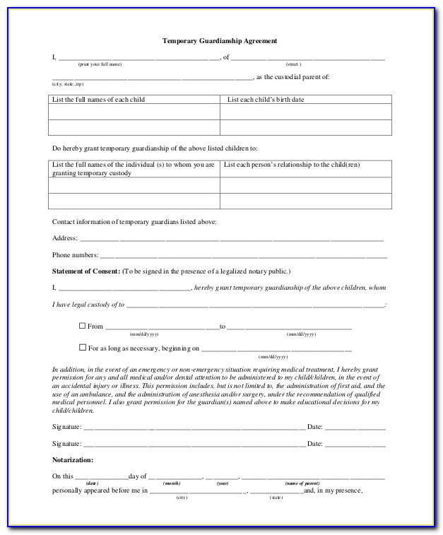 Free Temporary Guardianship Form And Parental Consent Forms