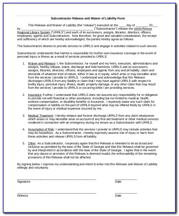 Free Uninsured Contractor Waiver Form Form Resume