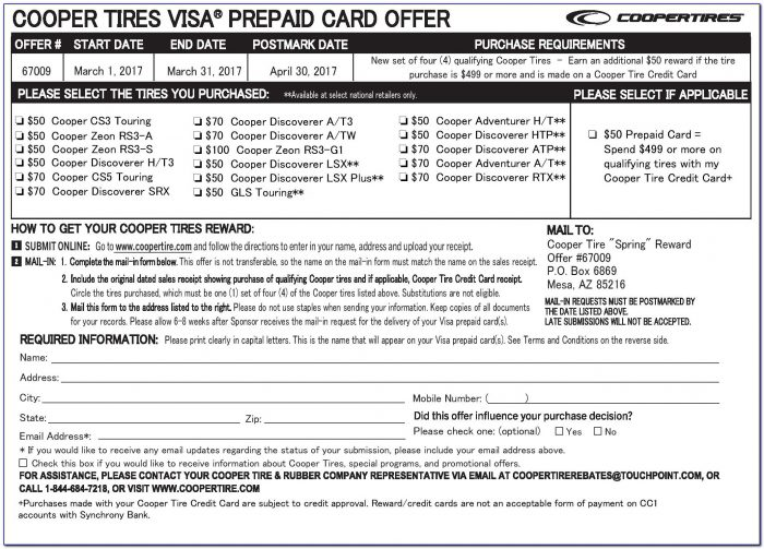 Cooper Tire Rebate Form Pdf
