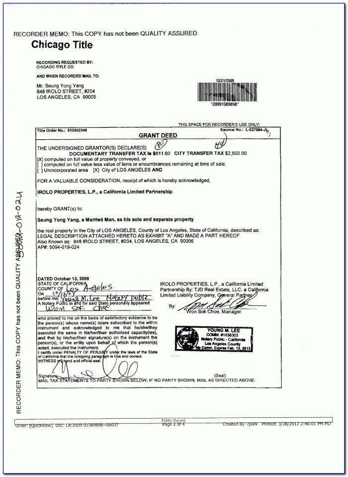 Grant Deed Form California 2016