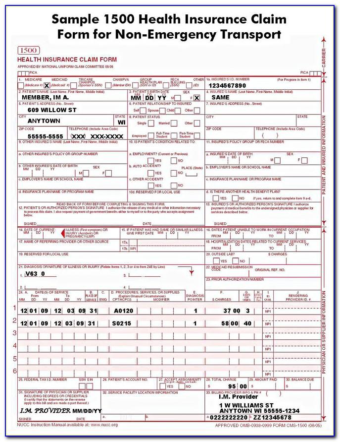 Hcfa 1500 Claim Forms