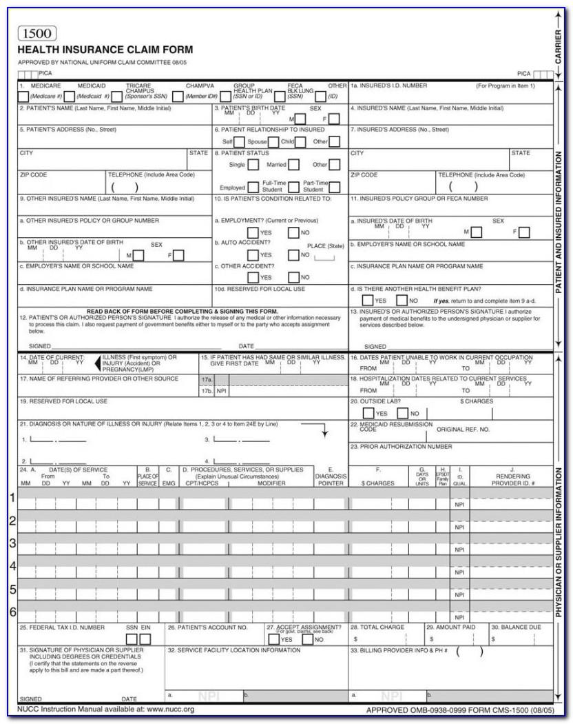 Hcfa 1500 Form 2016 Pdf