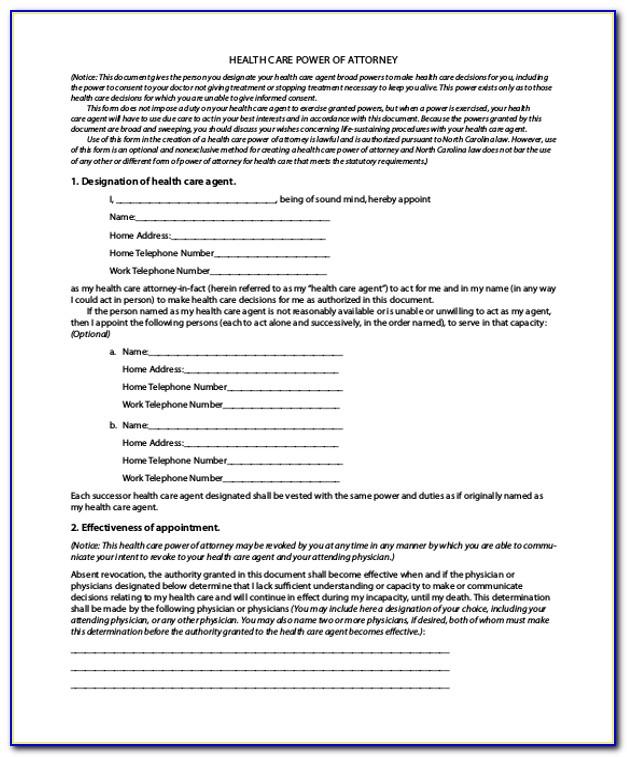 Health Care Power Of Attorney Form California