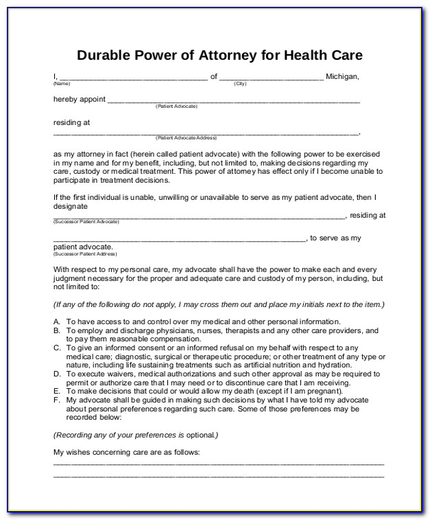 Health Care Power Of Attorney Form Maryland