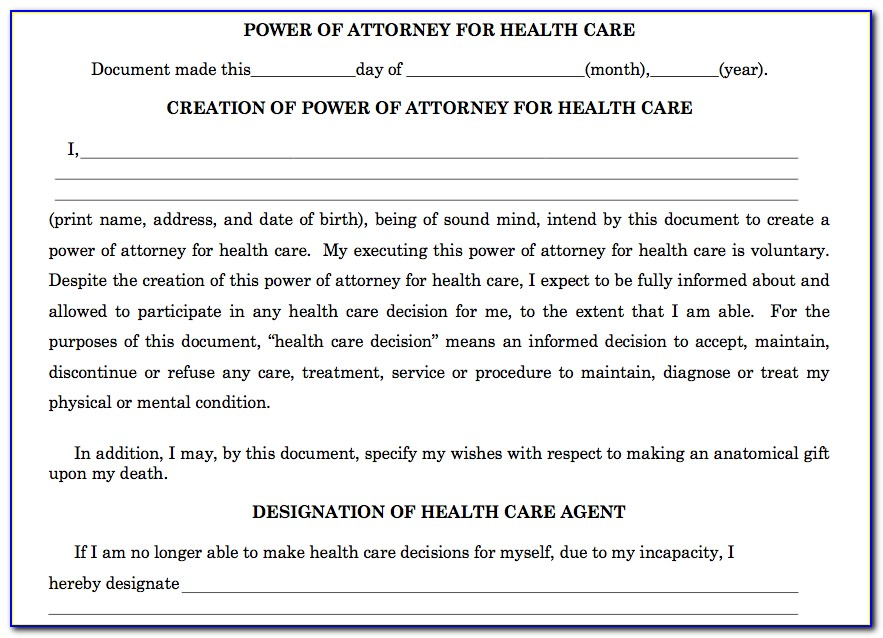 Health Care Power Of Attorney Form Nj