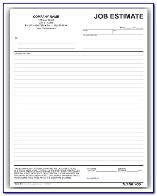 Hvac Job Estimate Form