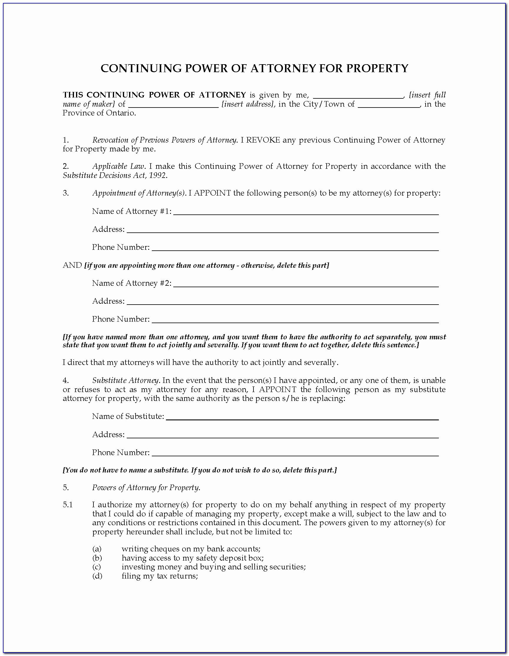 Power Of Attorney Form Idaho Fresh Tario Continuing Power Of Attorney For Property