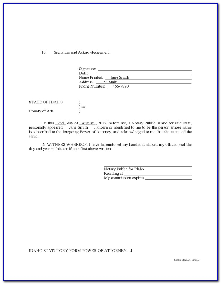 Idaho State Power Of Attorney Form