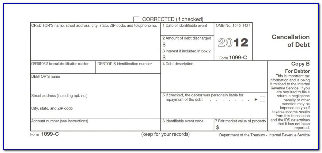 Irs Cancellation Of Debt Form