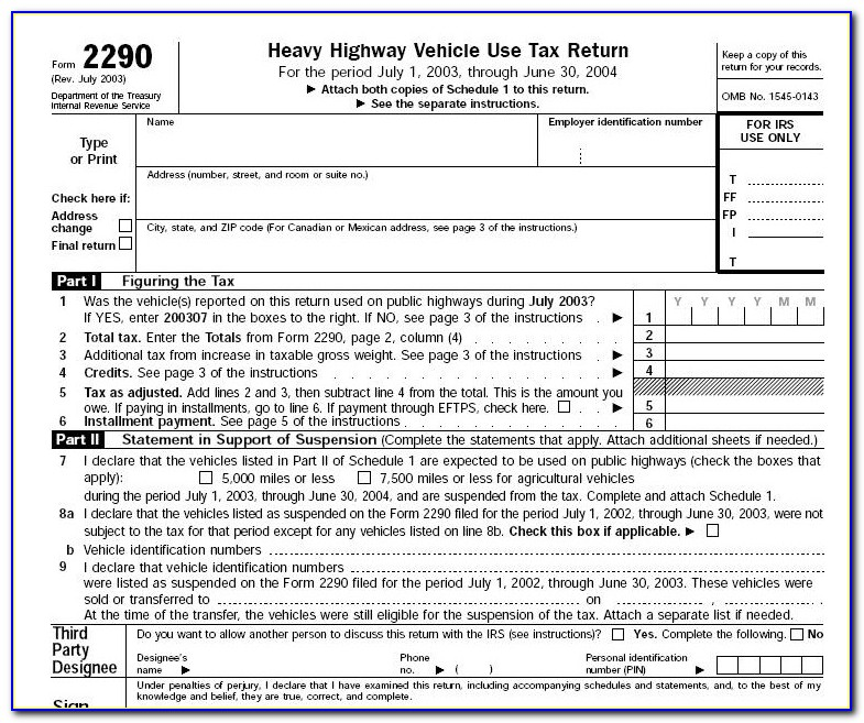 Irs Form 2290 Instructions