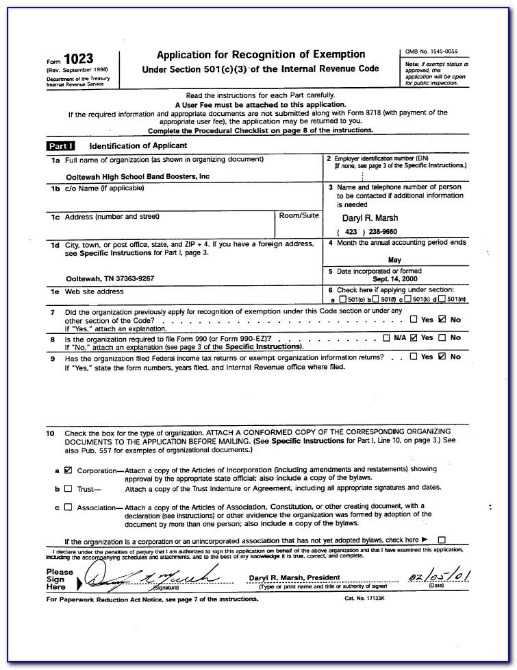 Irs Form 501c3 Ez
