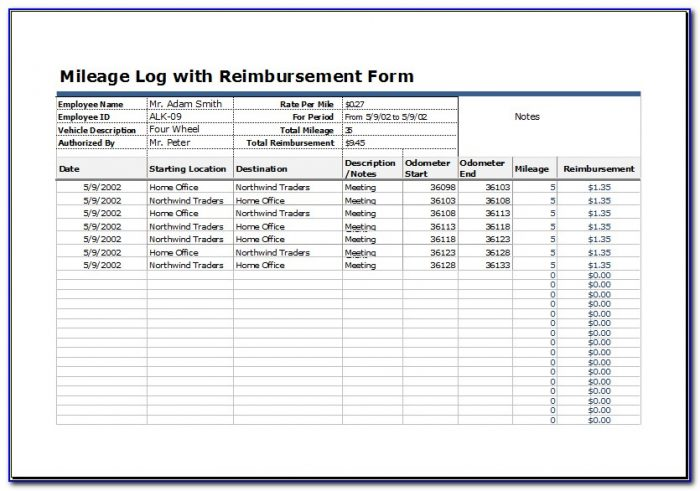 Irs Mileage Log Book Template