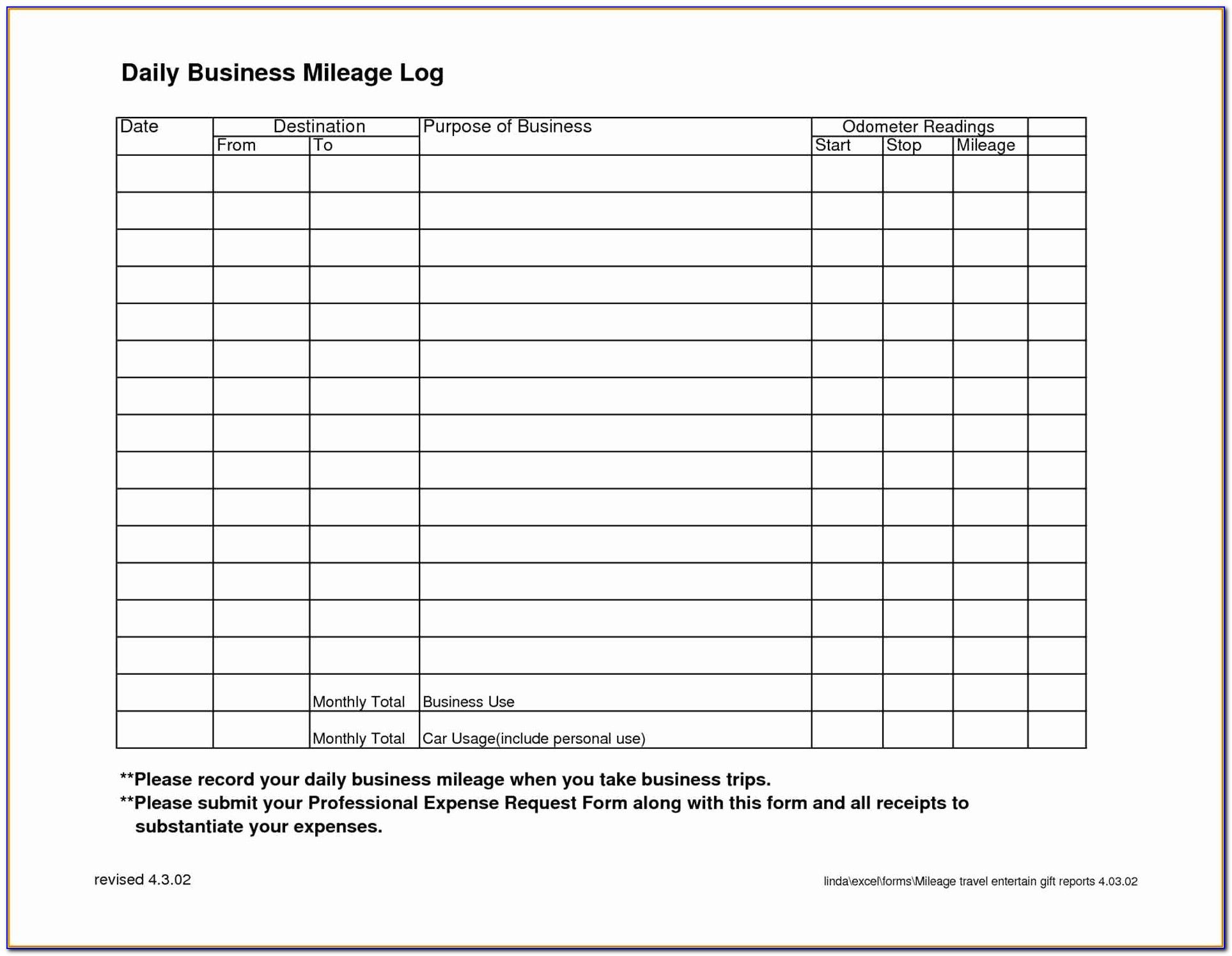 Irs Mileage Log Book Template Awesome Receipt Form Template Business Pinterest Mileage Mileage Forms