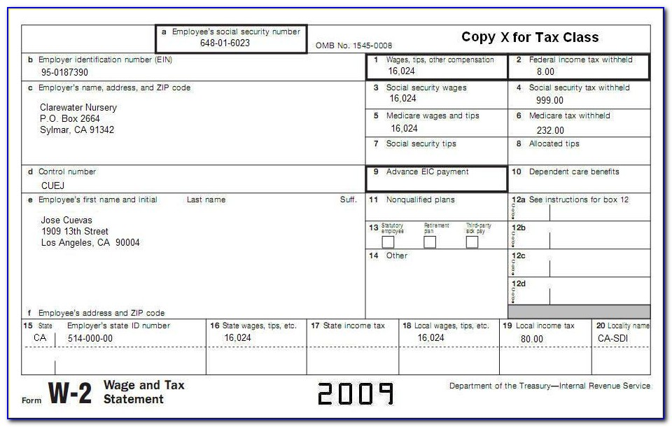 Irs W 2 Form 2012 Printable