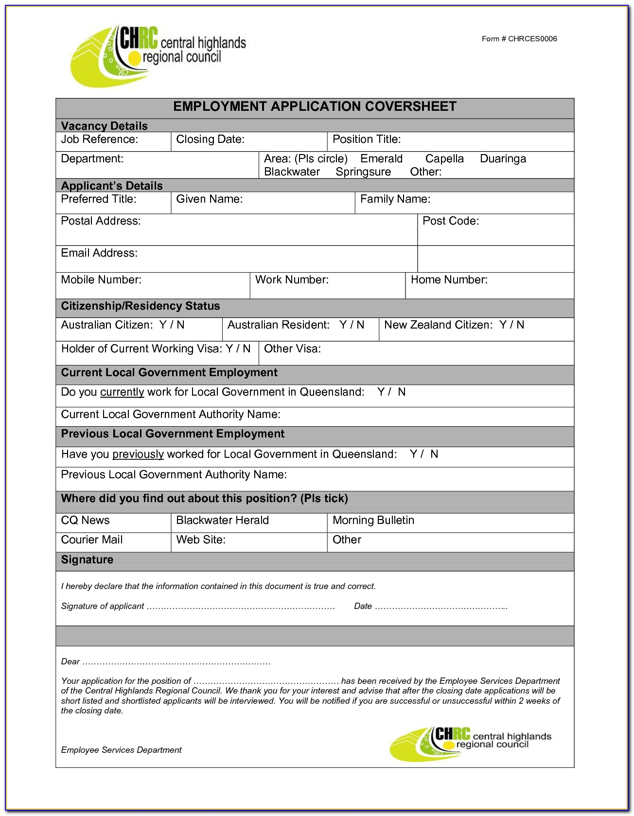 Job Application Form Template Word Malaysia
